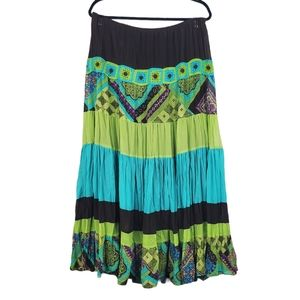 LANE BRYANT Green Brown Boho Maxi Skirt 14/16